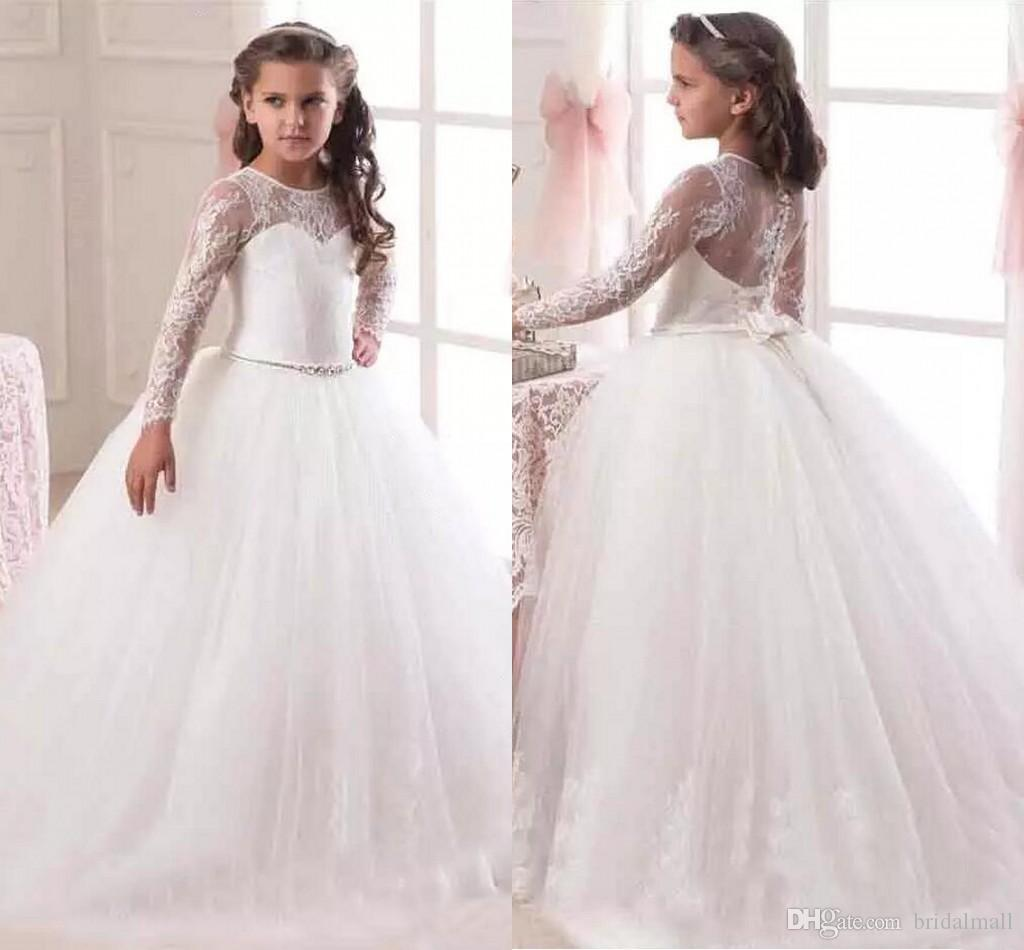 9a95af117f1 2019 Cheap Cute White Ivory Ball Gown Long Sleeves Flowers Girls Dresses  for Weddings Lace First Communion Dress Pageant Dresses with Bow