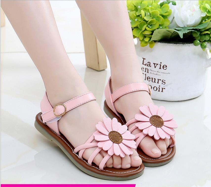 2018 new summer children's sandals girls Korean casual shoes girls princess sandals flowers baby