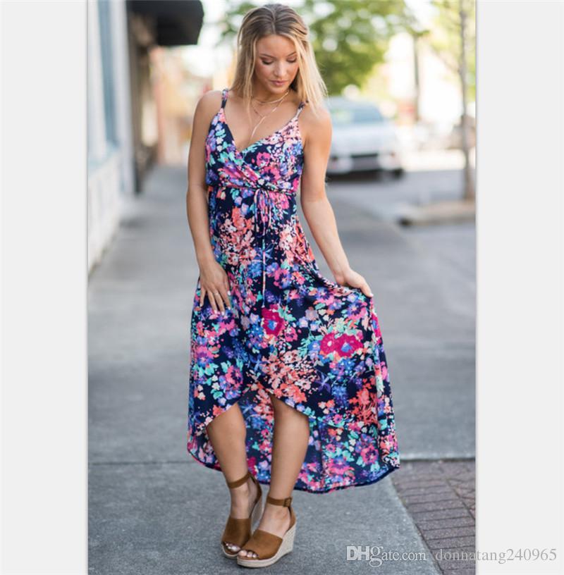 df6b7d2bbe65e Sexy Double deep V neck summer dress Women floral print bohemian maxi dress  Hollow out irregular long dress vestidos