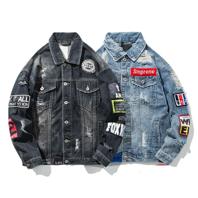 Fashion Men Denim Jacket With Letter Applique Ripped Hole Motorcycle
