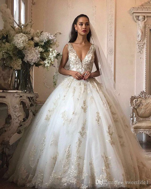 e4e273aa61 Discount 2019 Gorgeous V Neck Wedding Dresses Lace Appliques Floor Length  Puffy Tulle A Line Church Bridal Gown Custom Made Hot Sale Cream Wedding  Dresses ...