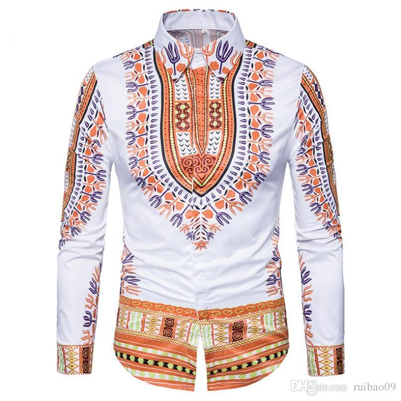 9ce41afa662 2019 Hot New African Men Traditional Dashiki Printed Slim Clothing Black  White Long Sleeve Turn Down Collar Shirt Ethnic Top HY 011 From Ruibao09