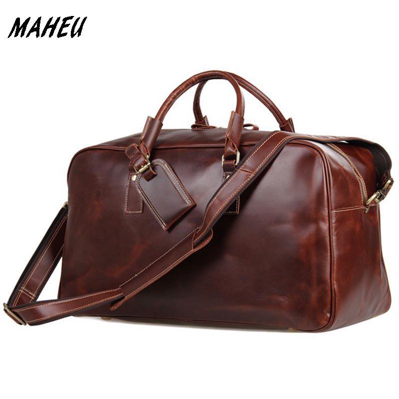 ba9fa47ab6 Unisex Vintage Crazy Horse Leather Canvas Men Duffel Bag Leather Travel Bag  Women Boston Tote Bag