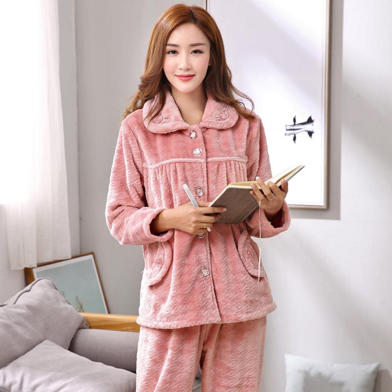 Womens Winter Keep Warm Pajamas M ~3XL Plus Size Pyjamas Set Thick Flannel  Autumn Sleepwear Loungewear UK 2019 From Regine 07922e061