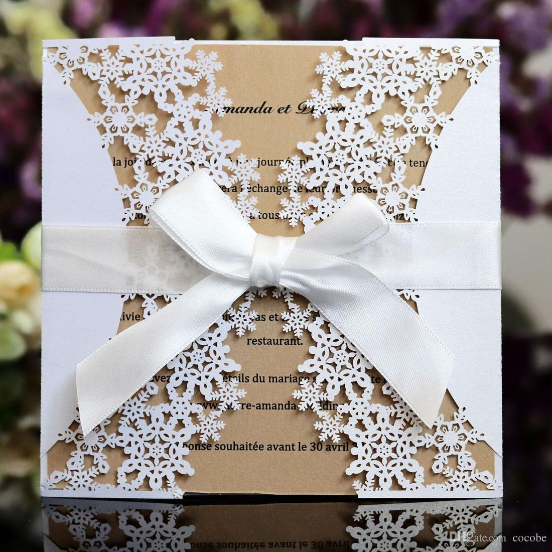 Ivory Laser Cut Lace Wedding Invitations With Bowknot For Engagement ...