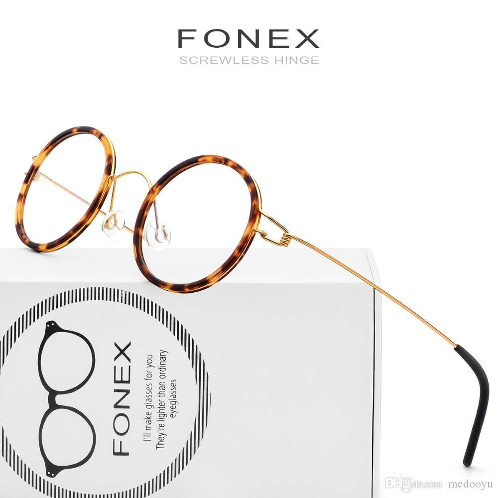 1574cecb343f9 Compre FONEX Handmade Eyewear Prescrição Eyewear Rodada Armações De Óculos  Coreano Moldura Óptica Miopia Itália Dinamarca Projeto 98613 De Medooyu
