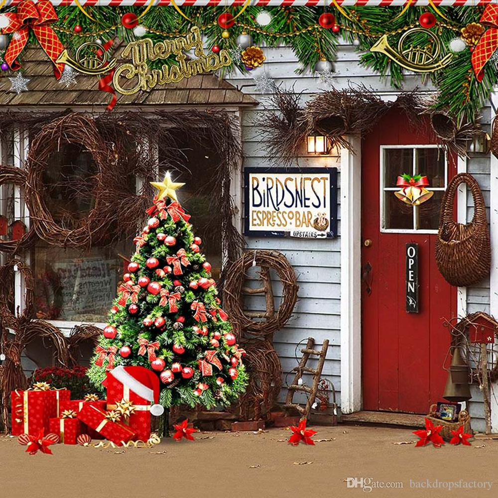 2018 merry xmas party photo booth backdrop printed garland decorated christmas tree present boxes red door bar photography background from backdropsfactory
