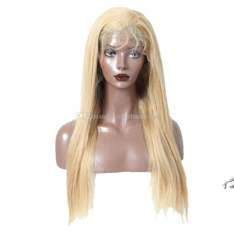 250% Density Blonde Silky Straight Lace Front Wigs #27 Brazilian Virgin Human Hair Lace Frontal Wig With Baby Hair Pre Plucked For Women