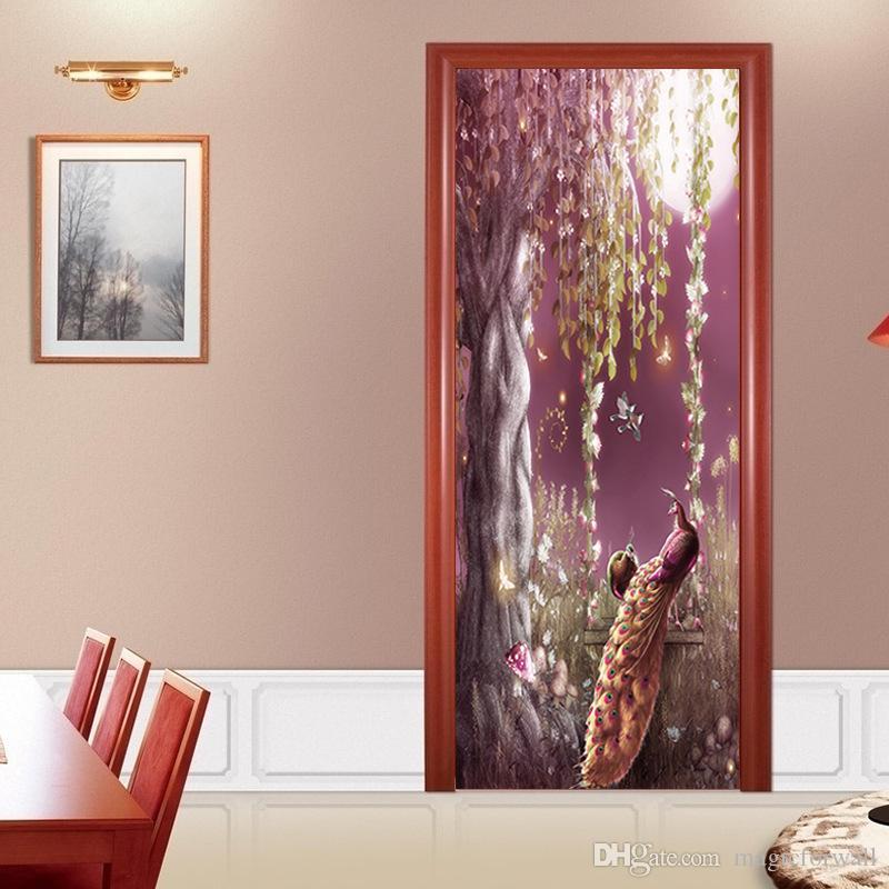 Büyük Ağaç Çim Çiçekler Tavuskuşu Duvar Çıkartmaları Kapı Koridor Koridor Dekorasyon için 3D Stereo Simülasyon Dekoratif Duvar Çıkartmaları Ev ...
