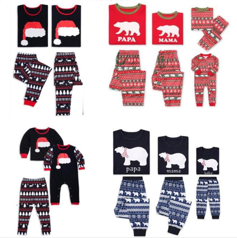 3895e85cca Christmas Kids Adult Family Pajamas Set Xmas Tree Elk Snowflakes Bear Print  Sleepwear Autumn Nightwear Bedgown Cotton Sleep Homewear Outfit Mommy And  Me ...