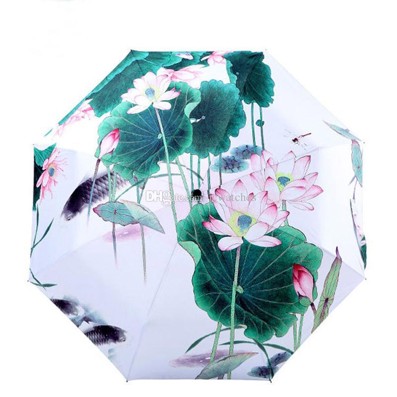 Paraguas de pintura tradicional china pintura al óleo anti-uv loto sombrillas parasol