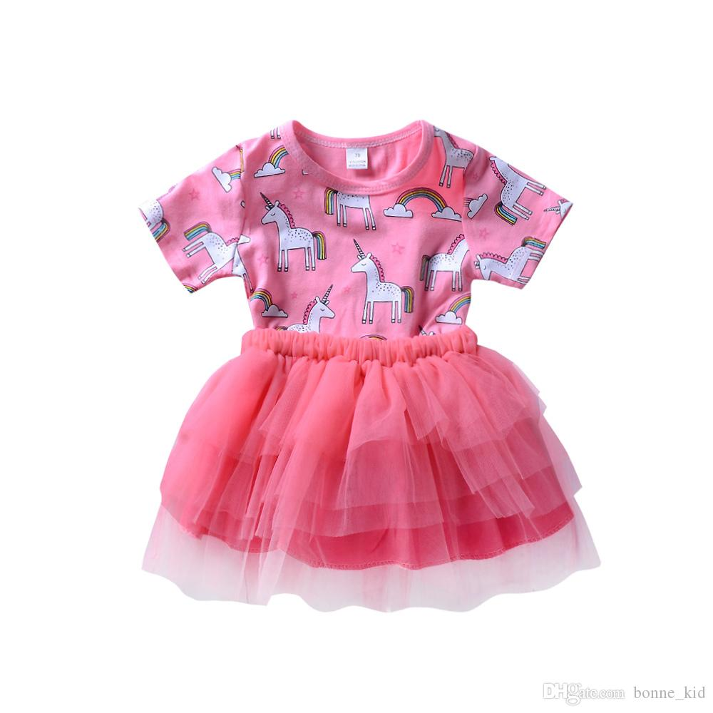 5958d1e4a 2019 Cute Baby Girls Unicorn Princess Tutu Dresses Tulle Girl ...