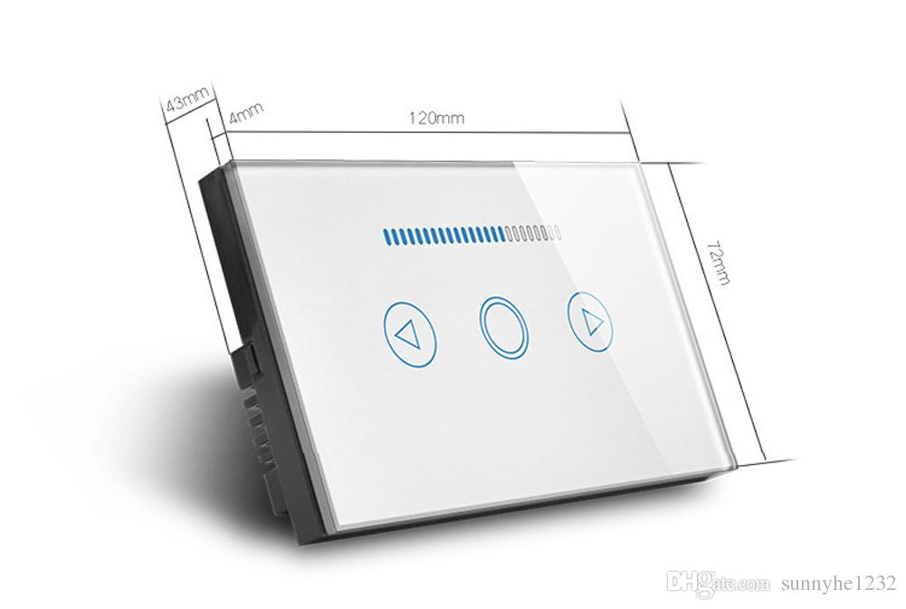 Touch Dimmer Switch 500W LED Backlight Glass Tempered Panel Dimmer Light Switch Black