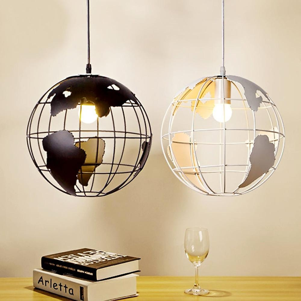 Retro indoor lighting vintage pendant lights globe iron cage lampshade warehouse style light fixture retro lights ceiling lighting fixtures drum pendant