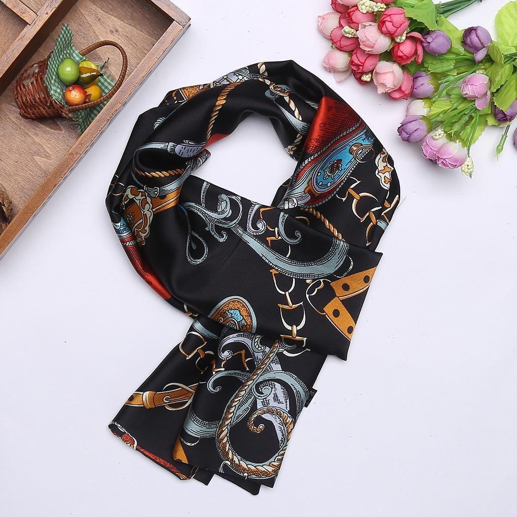 Print Satin Scarves Fashion Long Skinny Women Soft Scarf Wraps Headband  Silk Scarves Silk Scarf From Fenkbao dcca245f6c6