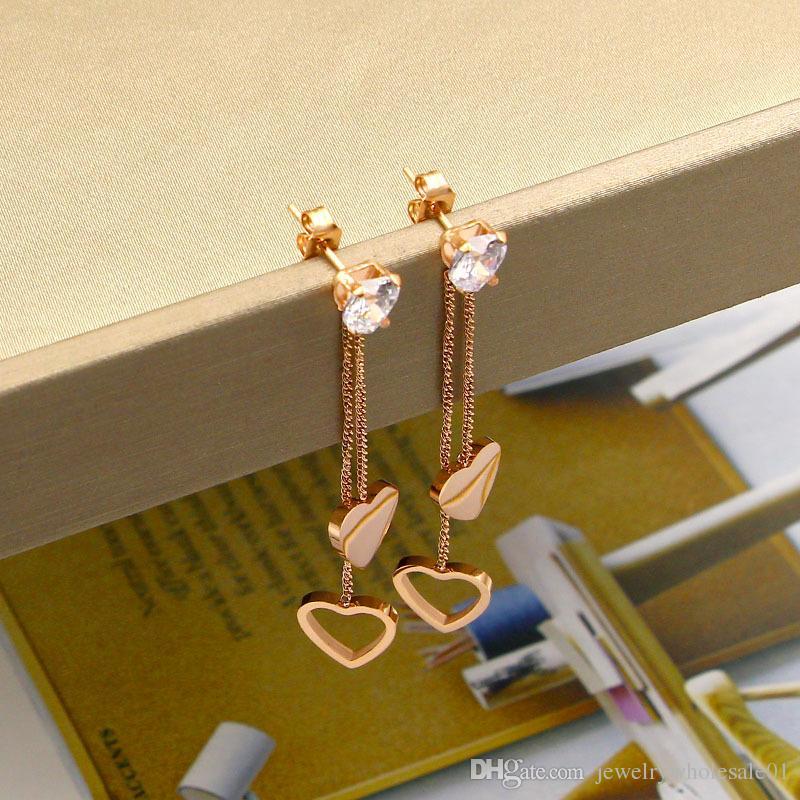 Shining earrings fashion heart rhythm fringed double heart long earrings Japanese wild titanium steel rose gold heart-shaped earrings