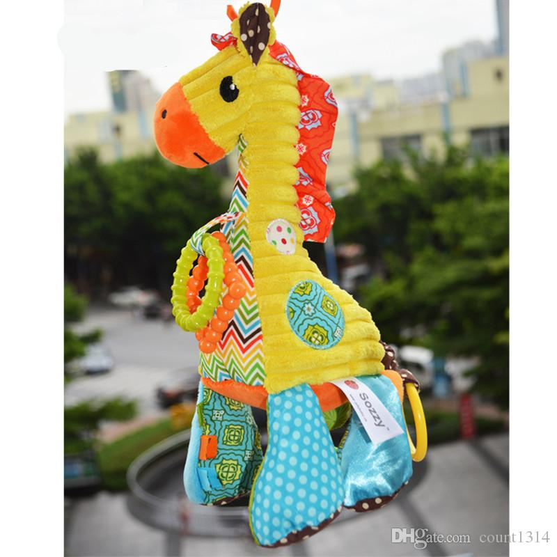 Sozzy Baby Rattle with Melody Wind Up Music Box Baby Teether Ring Bell Plush Toy Giraffe Doll