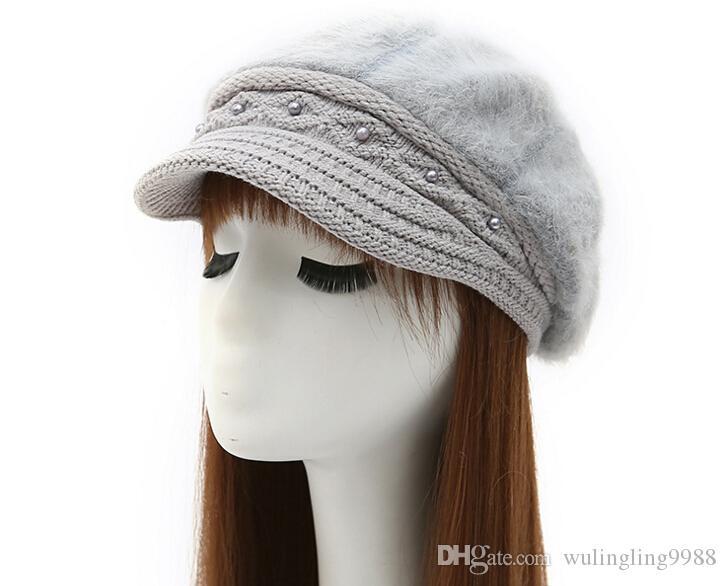 Cashmere tricoté chapeau coréen Type Winter Béret femme Béret culminé Cap Lady Rabbit Hair chapeau 7 couleurs