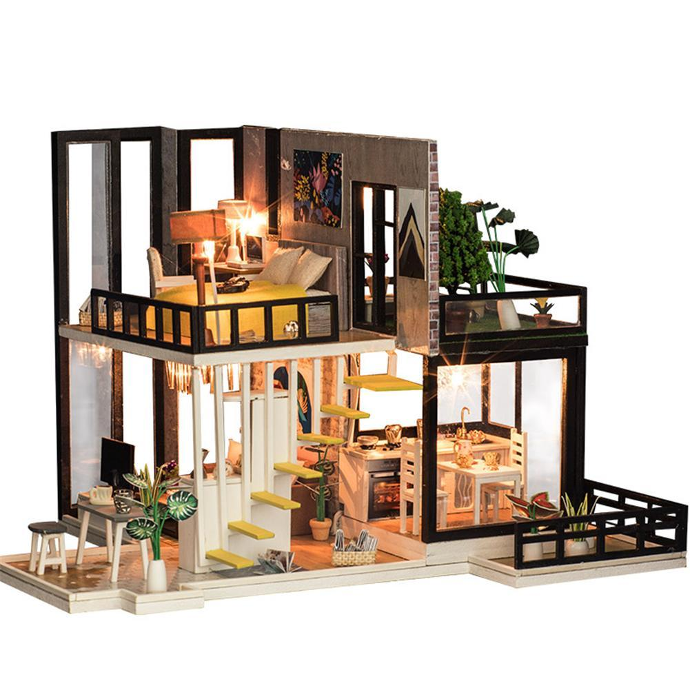 Assembling DIY Miniature Model Kit Wooden Doll House Romantic House Toy  with Furnitures Gift for Girl Handmade Craft Toys