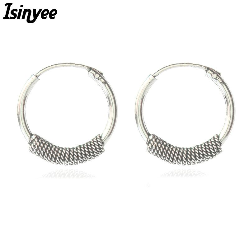 f1828c8ff75d9 whole saleISINYEE Vintage Small Hoop Earrings For Women Punk Metal Round  Earring Antique Brincos Tibetan Silver Ethnic Indian Jewelry