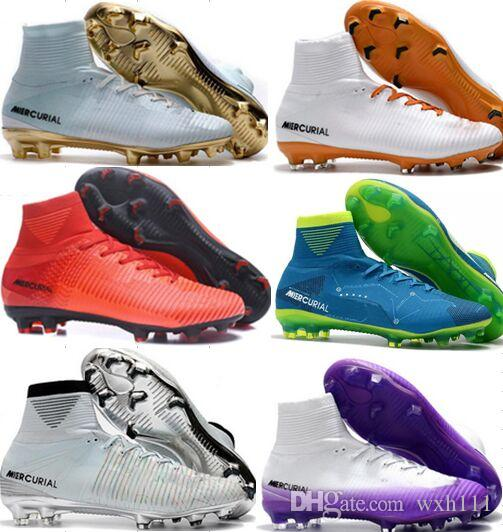 Cristiano Ronaldo Mercurial Superfly v FG CR7 Football Boots Top Quality White Golden Soccer Shoes Mens Training Sneakers Soccer Cleats