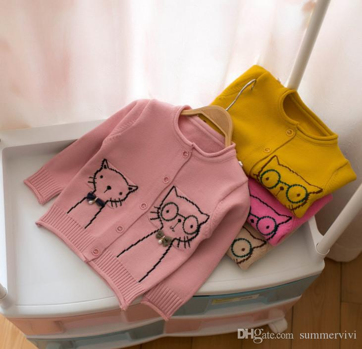 087e603e1 Autumn Kids Sweater Cardigan Girls Bows Pearl Cat Knitted Outwear ...