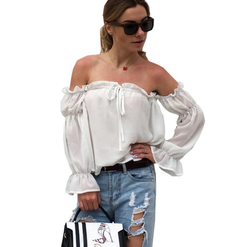58a1d91d7a919 2019 Sexy Slash Neck Off Shoulder Top Chiffon Blouse Autumn Women Blouses  2019 Long Sleeve Lantern Sleeve Ruffles Short Tops White From Jamie01