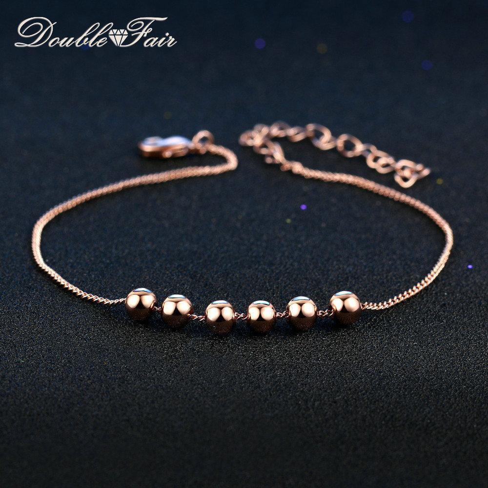 f0f8dbf94891 Compre Doble Fair Beads De Metal Del Encanto De La Cadena Pulseras  Brazaletes De Oro Rosa De Color De Moda De Joyería De La Vendimia Para Las  Mujeres ...