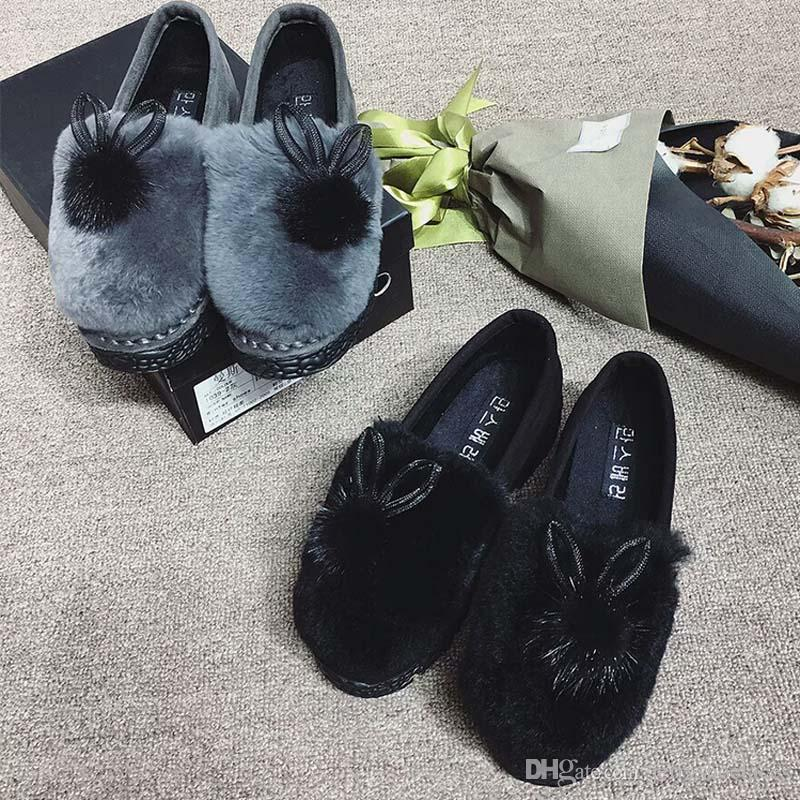 Fashion Women's Shoes Decoration Mink Hair Ball With Ears Detachable Cute Ornament Elegant Shoes Accessories For Shoes