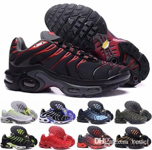 online store 7b38e 6a6a2 2018 Running Shoes Men TN Shoes Tns Plus Air Fashion Increased Ventilation  Casual Trainers Olive red blue black Mens Sneakers Chausseures
