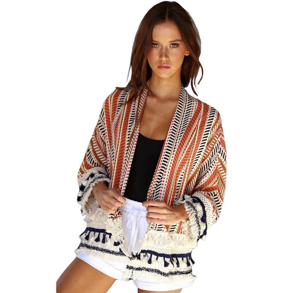 9b27cd23a1f 2019 New Fashion Women Jacket Printed Loose Kimono Cardigan Coat Crochet  Lace Long Sleeve Casual Shirt Top Outerwear Blue Orange From Stephanie12