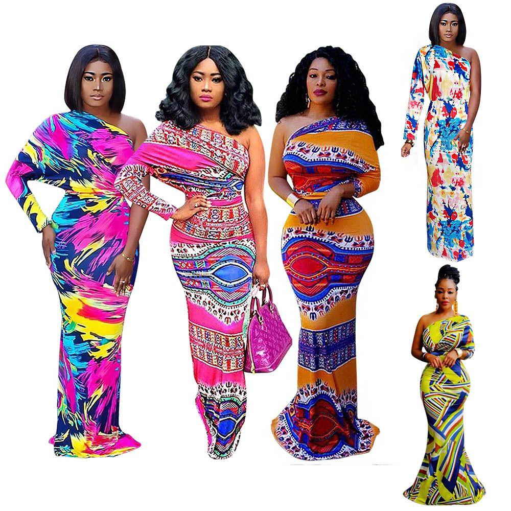 Acquista Stili Impressionanti Di Ankara Le Donne Lo Stress Della Stampa  Africana Le Donne Moda Sexy Vestiti Da Una Spalla Vestiti Africanprints  Vestito In ... fd8b358025f