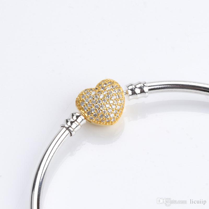 925 Sterling Silver Brand Bracelet Bangle with box for Pandora18K Gold Plated Crystal Heart Charms Bracelet Wedding Jewelry