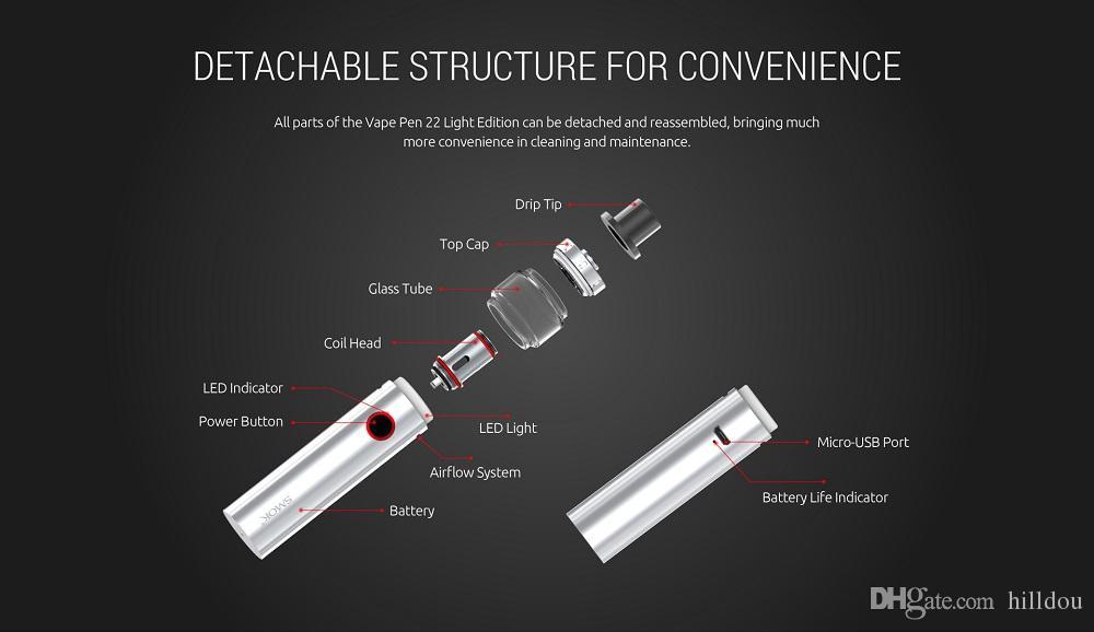 Smok Vape Pen 22 Kit 2ml Tank and 1650mAh Battery LED Indicator Design 100% Original Smoktech All-in-one Vapor