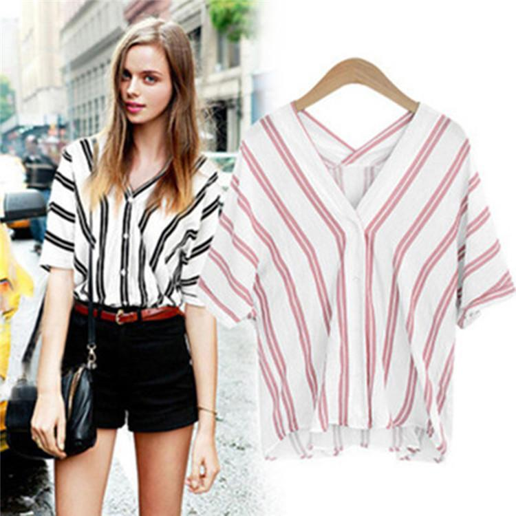 68c49c4153c 2018 New Female Vertical Stripes V-Neck Cotton Shirt Bat Sleeve ...