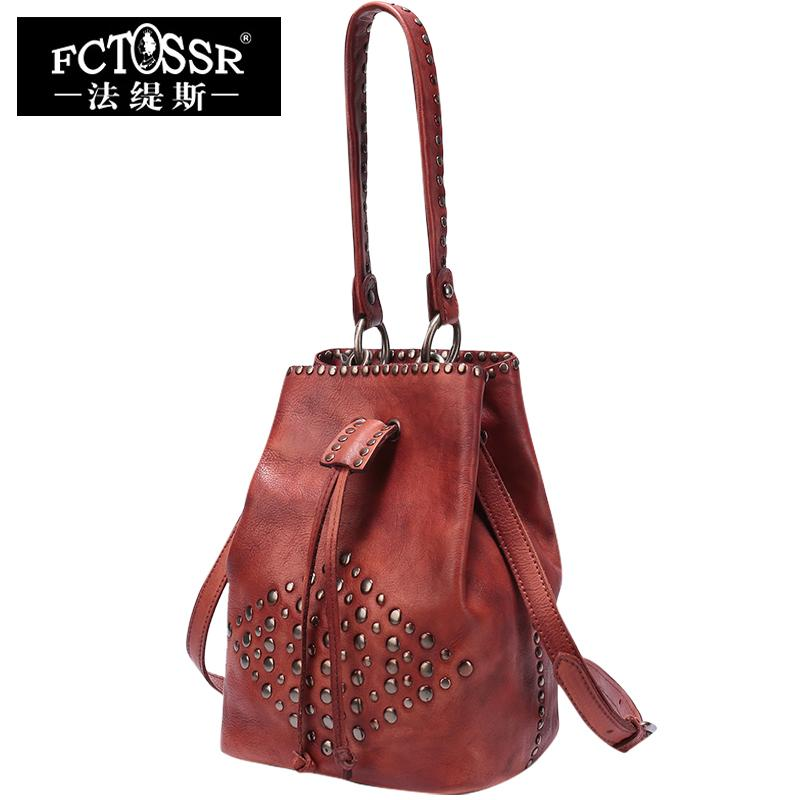 Bucket Style Leather Bags Women S Handbag Vintage Shoulder Bag