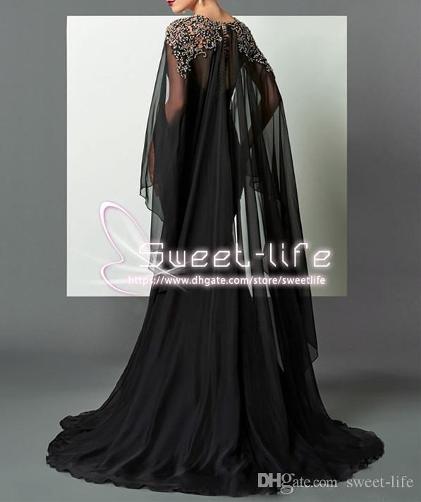 2019 Sirena negra Árabe Madre formal Vestidos Elie Saab Chiffon con cuentas con Cabo africano Fiesta de baile Vestido Concurso Vestido de celebridad Pista