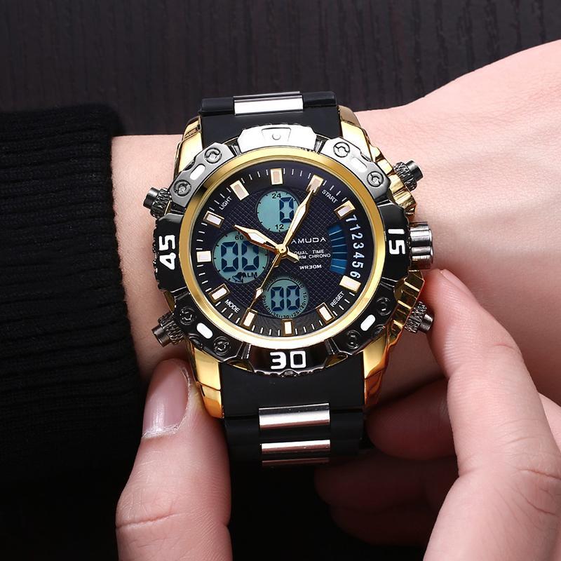 5f2eabc20278 Compre Hombres Deportes Al Aire Libre Relojes De Lujo Multifunción  Cronógrafo Impermeable Oro Digital Reloj De Pulsera De Cuarzo Reloj Relogio  Masculino A ...