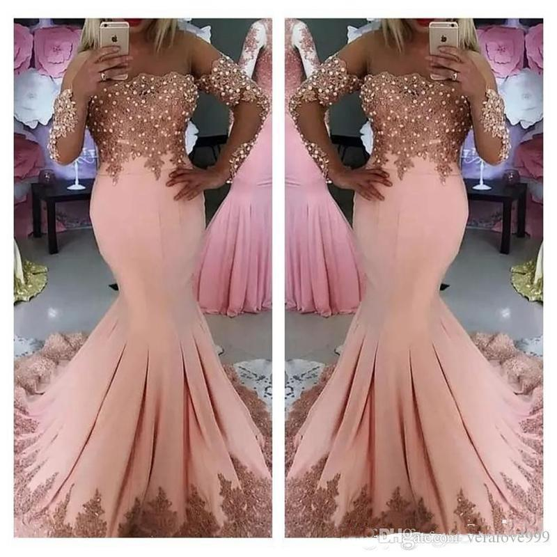 e8d8ea89801 Cheap 2018 Sexy Middle East Arabic Prom Dresses Long Sleeves Pink Lace  Appliques Pearls Mermaid Plus Size Evening Party Gowns Wear Vestidos