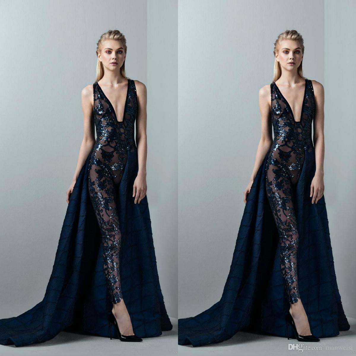 d769153465e Dark Navy Jumpsuit Sexy Prom Dresses With Detachable Skirt Lace Applique  Sequined Evening Gown Deep V Neck Formal Dress Party Cheap Pink Prom Dresses  Cheep ...