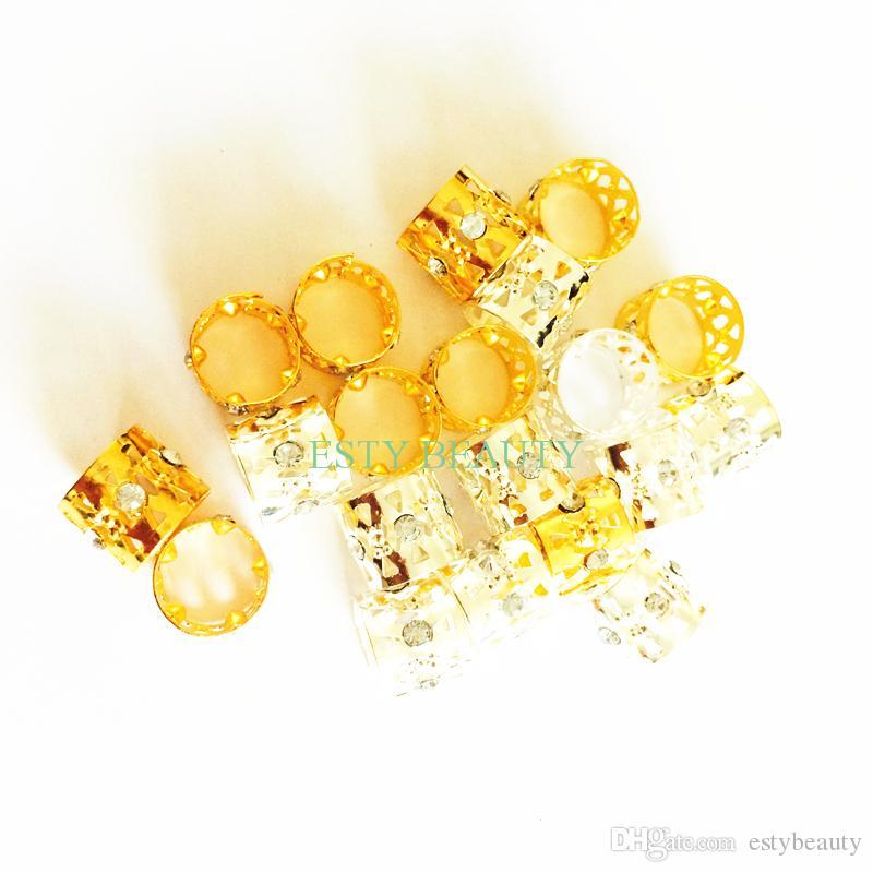 10 قطع الذهب حجر الراين الشعر الضفائر dreadlock الخرز الأصفاد جديلة للتعديل كليب شكل قلب الشعر التمديد أداة مجوهرات 13 ملليمتر