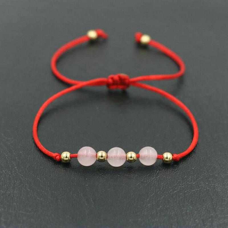 3ea07ebb22c84 BPPCCR Gold Color Copper Beads & 6mm Pink Quartz Stone Thin Red Rope Thread  String Braided Bracelets Women Gifts Pulsears