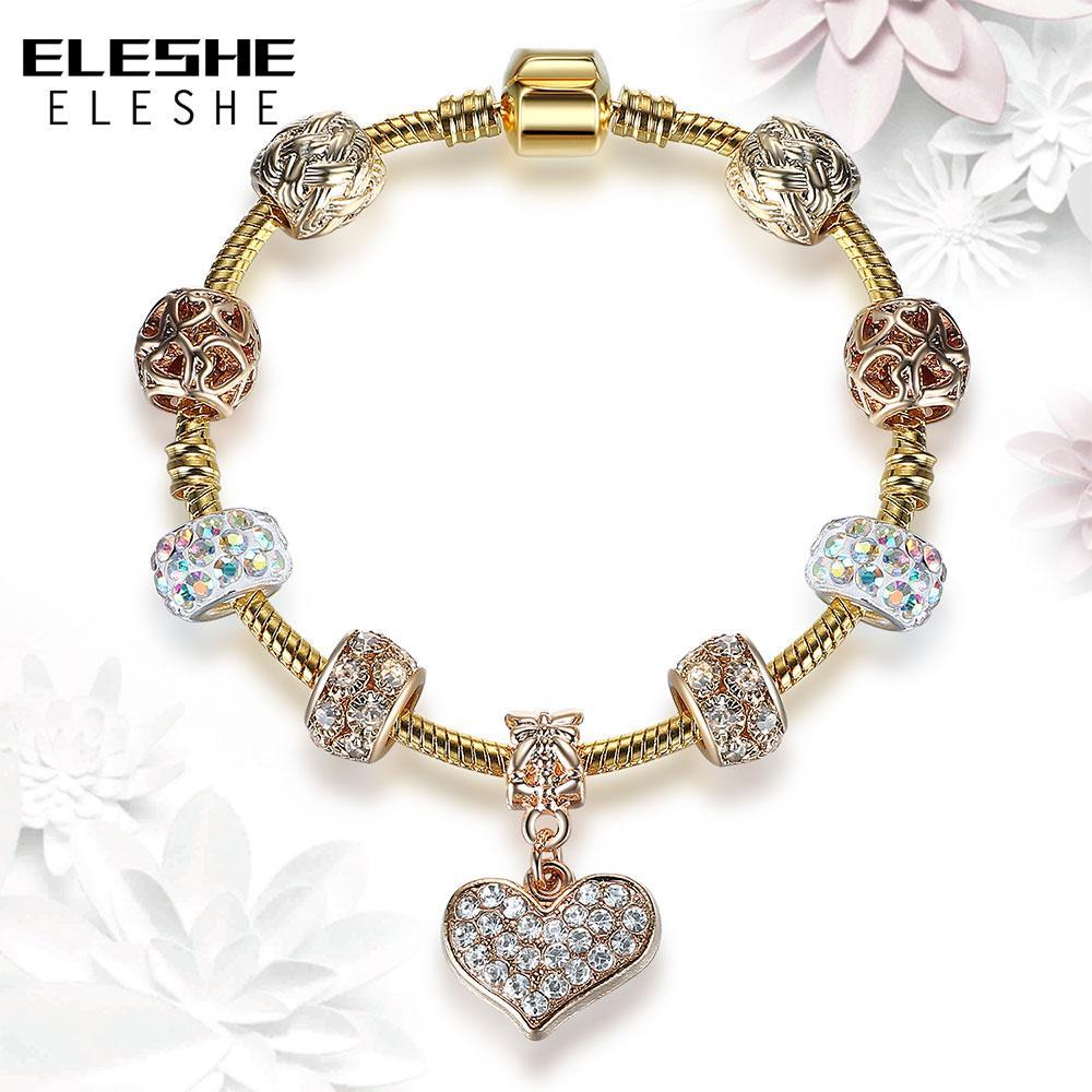 ELESHE Corrente Da Cor do Ouro de Cristal Do Coração Charm Bracelet Bangle para As Mulheres Com Vidro Branco Bead Charme Europeu Pulseira DIY Jóias