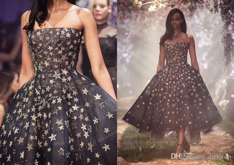 Paolo Sebastian 2018 Prom Dresses Strapless Luxury Gold Stars