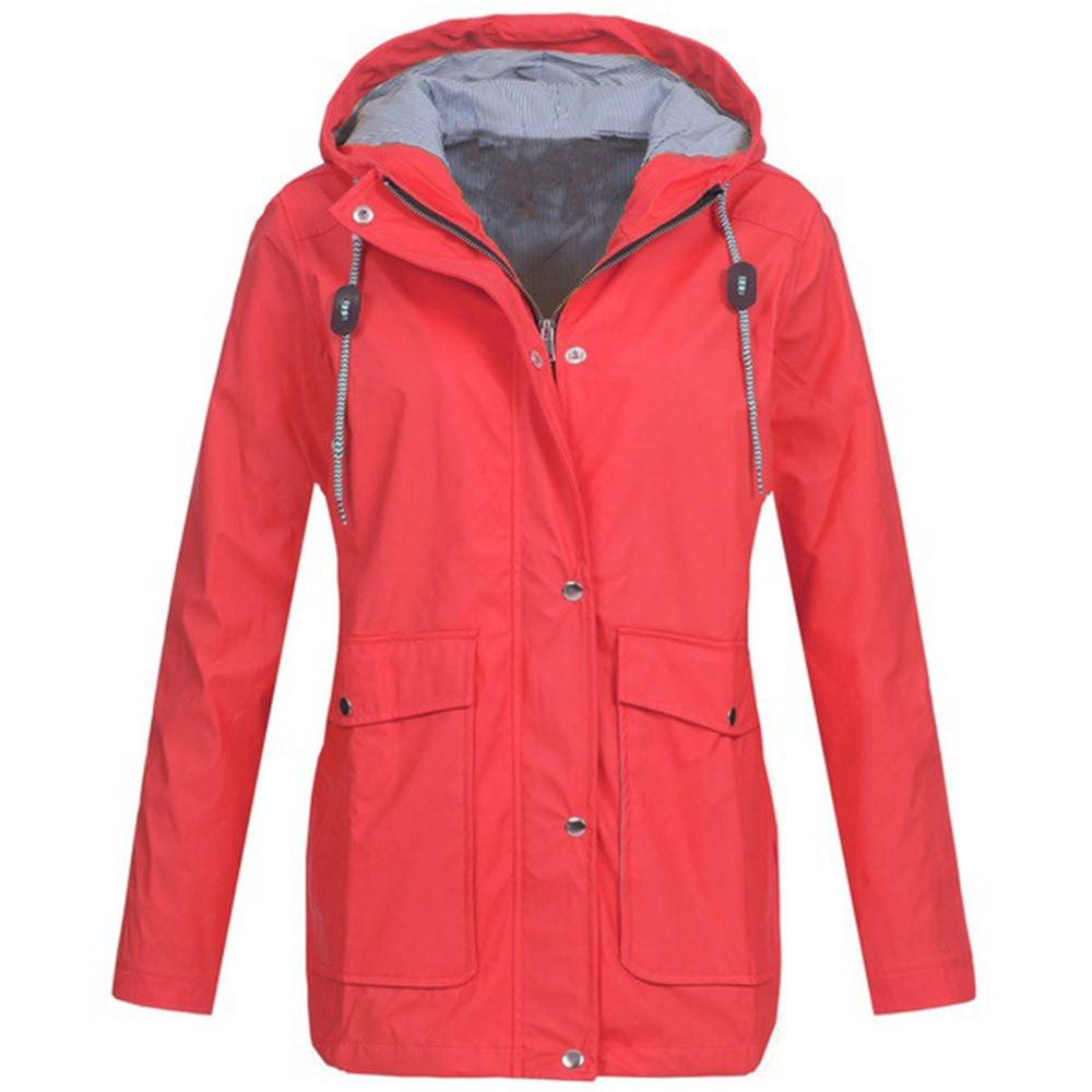 26b7aabc24841 Solid Rain Jacket Outdoor Plus Jackets Waterproof Hooded Raincoat Windproof  Winter Warm Coat Women 2018 Fashion Plus Size Denim Jacket Jackets For Women  ...