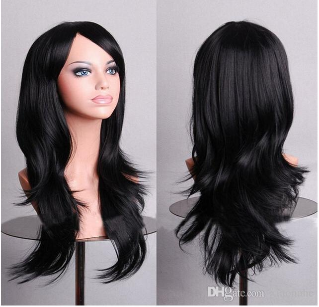 Long Curly Cosplay Costume Party Women Black 70 Cm High Temperature Synthetic Hair Wigs