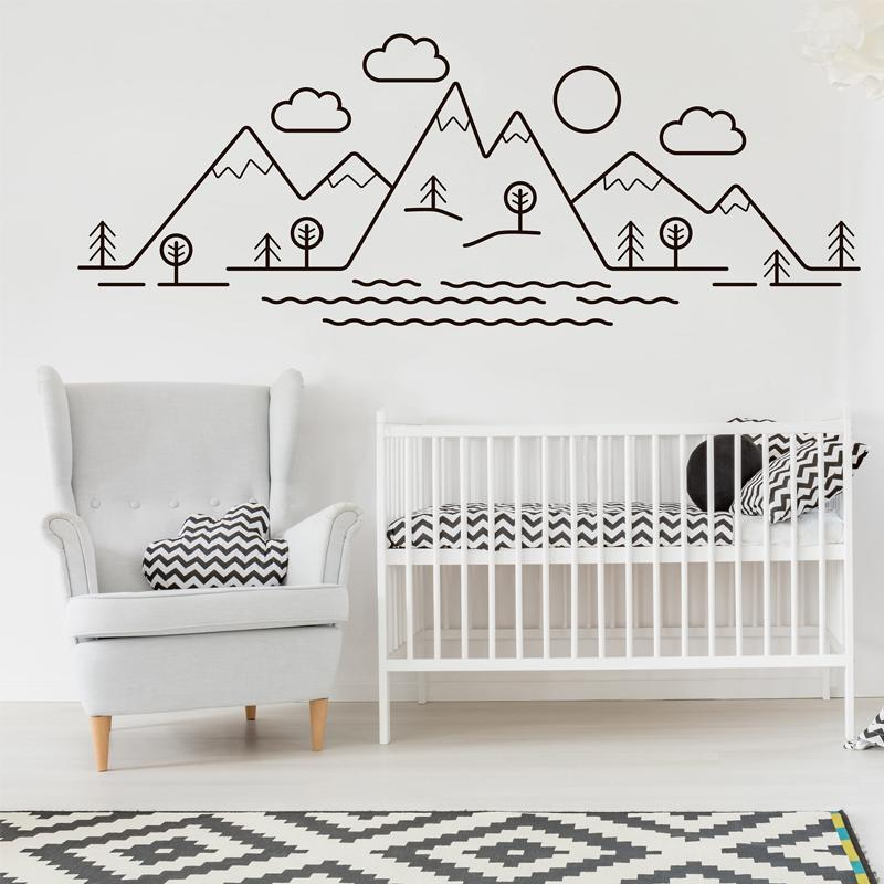 mountains trees baby woodland nursery vinyl wall stickers for decals
