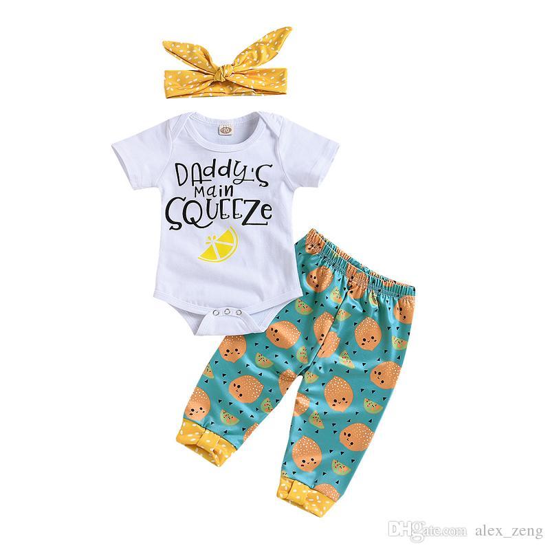 1b35173a72 Großhandel 2018 Mädchen Baby Strampler Kleidung Sets Zitrone Kleinkind  Strampler + Pants + Stirnbänder 3 Stücke Set Sommer Baumwolle Kleinkind  Onesies ...