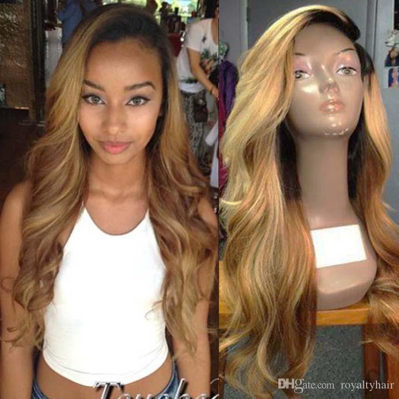 Lace Front Human Hair Wigs Ombre T1b 27 Wavy 130 Density Natural Wave Malaysian Virgin Hair Pre-plucked Hairline With Baby Hair Glueless