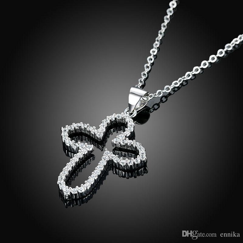 Sterling Silver 925 Necklace Lady Zircon Jewelry Pure Silver Hollow Cross Pendant Necklace n108